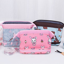 Double-layer cosmetic bag Women waterproof Flamingo makeup bags travel organizer Toiletry Kits Portable makeup bags Beautician
