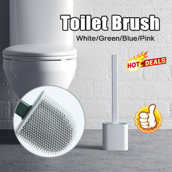 New Silicone Flex Toilet Brush With Quick Drying Holder Creative Cleaning Brush Set Soft Durable WC Bathroom Cleaning Tools недорого