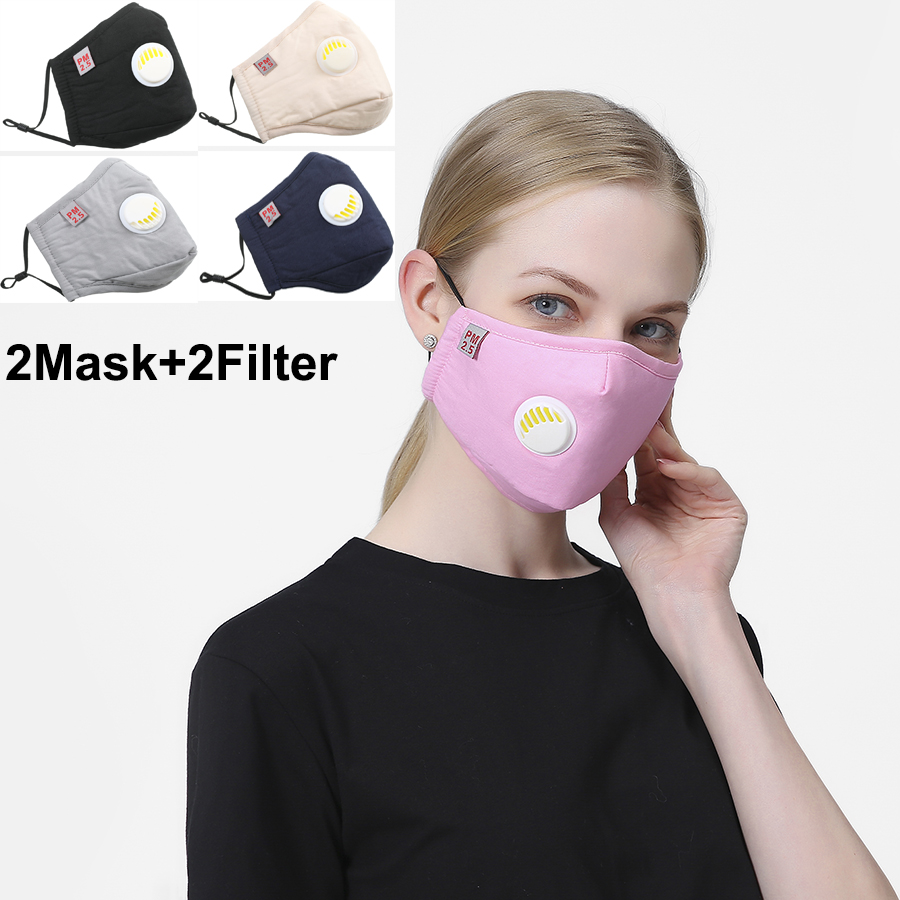 2Set Unisex Cotton PM2.5 Black Mouth Face Mask Anti Dust Mask Activated Carbon Filter Windproof Mouth-muffle Fast Ship