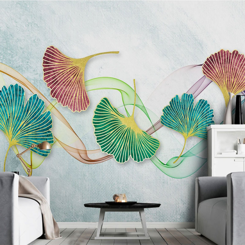 Seamless Wallpaper Simple Small Fresh Watercolor Ginkgo Leaf Line Bedroom Wall