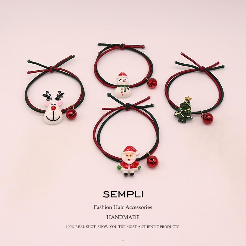 Sempli 22 Kinds High Nylon Rubber Bands Christmas Season Bell Elastic Hair Bands Women Girls Santa Claus Christmas Tree   Headwear