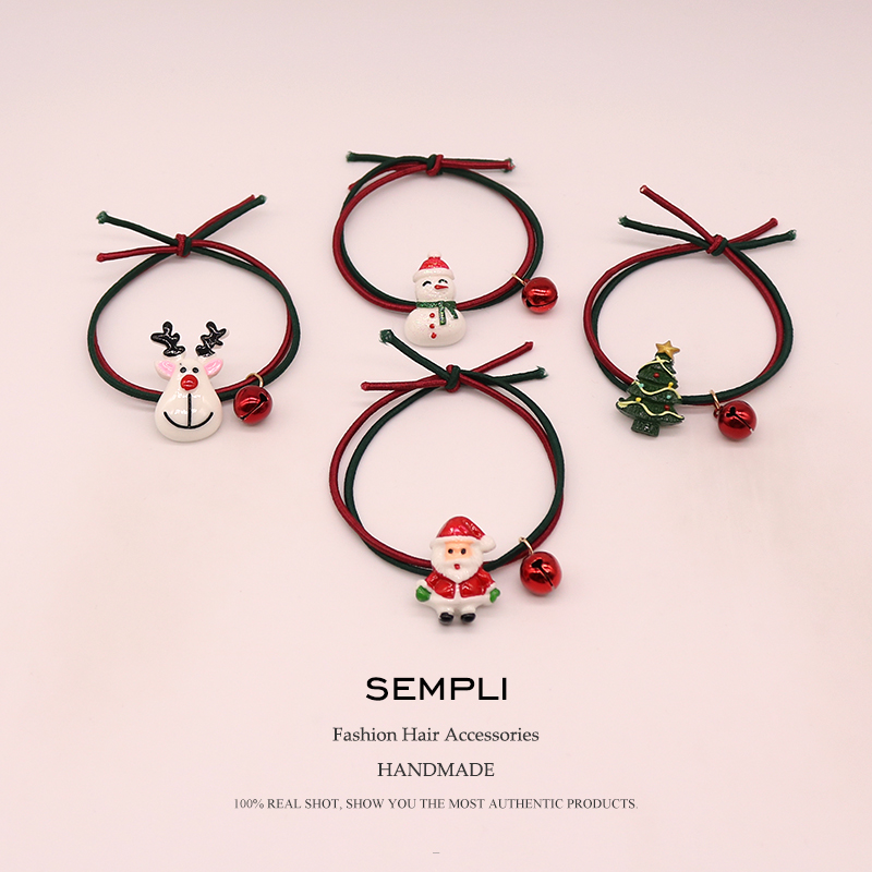 Sempli High Nylon Rubber Bands Christmas Season Bell Elastic Hair Bands For Women Girls Santa Claus Christmas Tree   Headwear   New