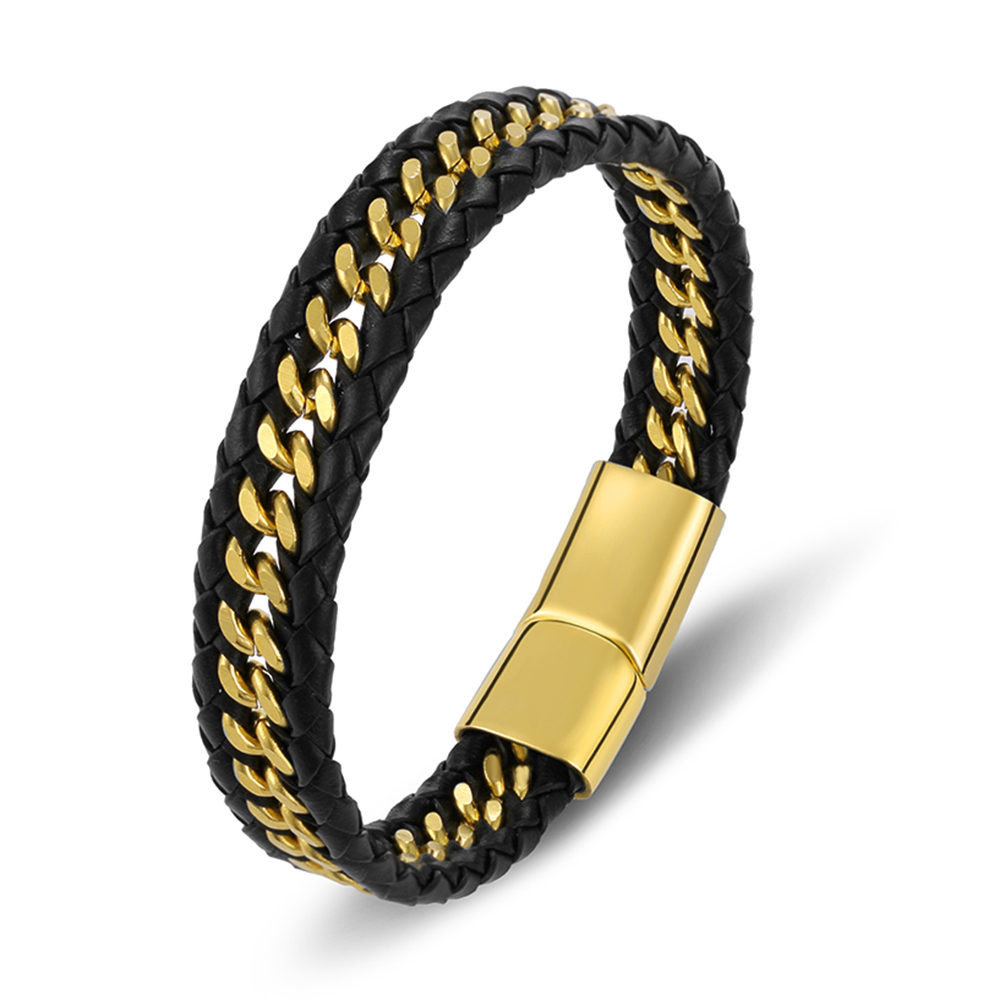 Gold Bracelet Men Genuine Leather Braided Rope Woven Fashion Trendy Charm Stainless Steel Magnet Bangles Jewelry Accessories