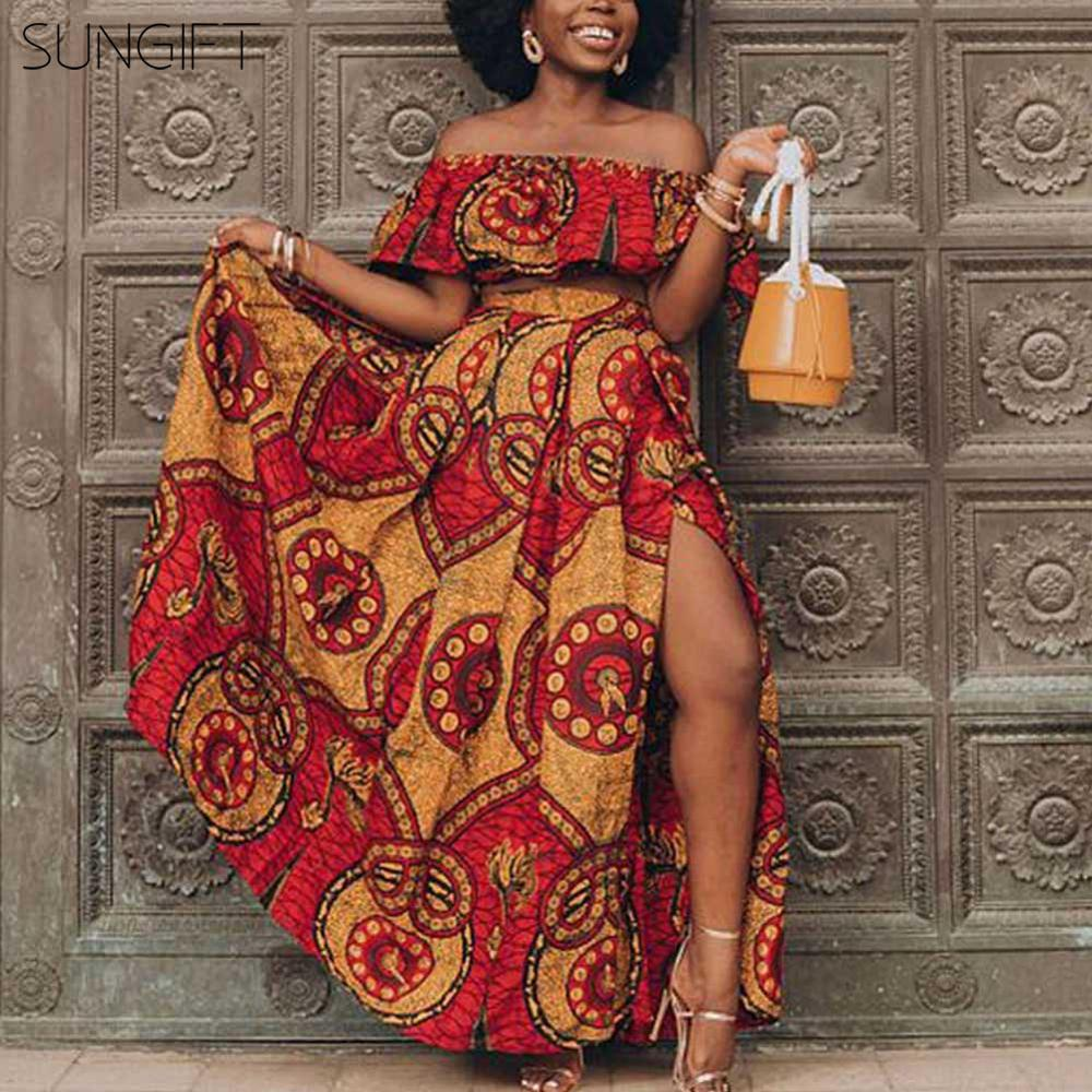 SUNGIFT Dashiki Party Dresses Off-shoulder Print Mix Color Dress 2019 African Clothing For Women 2 Pieces 1 Set Evening Dress