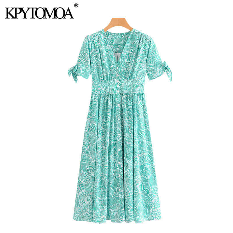 KPYTOMOA Frauen 2020 Chic Mode Print Button-up Plissee Midi Kleid Vintage V-ausschnitt Bogen Gebunden Ärmeln Weibliche Kleider vestidos