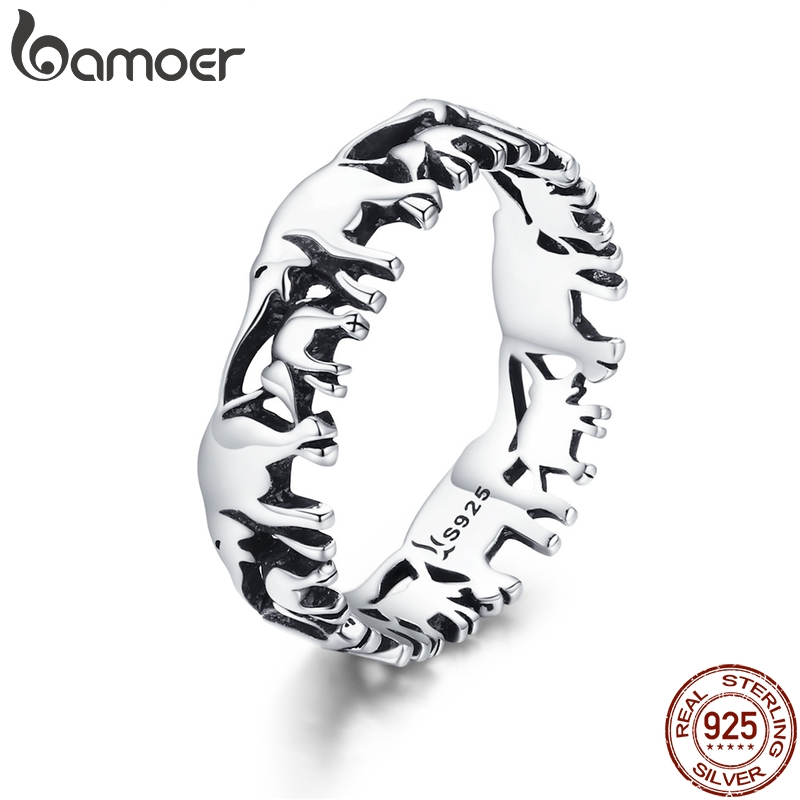 BAMOER Finger-Rings Stackable Silver Jewelry Animal-Collection Elephant Family Women
