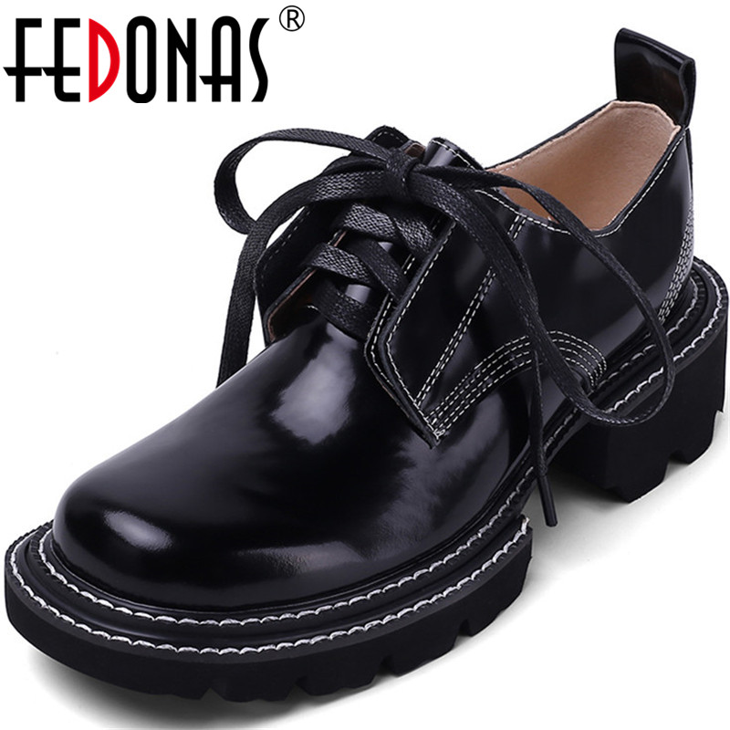 FEDONAS Famale Lace Up Genuine Leather Women Shoes Elegant Round Toe Chunky Heels Pumps Summer Autumn Party Casual Shoes Woman