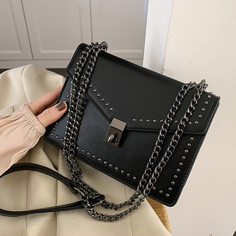 Small PU Leather Crossbody Bags For Women 2020 Rivets Shoulder Messenger Bag Female Travel Handbags Chain Cross Body Bag