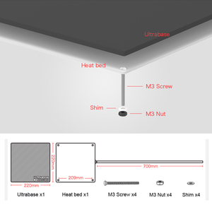 Image 5 - 220 × 220 12 v heatbed ウルトラベース 3D プリンタプラットフォーム構築表面ガラス板 anycubic i3 メガ MK2 MK3 3d プリンタ温床部品