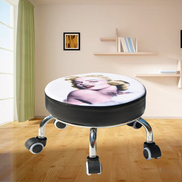 With Baby Small Stool Dormitory Pulley Small Stool Round Stool Wheeled Leather Stool Toddler Adult Beauty Sewing Low Stool 4