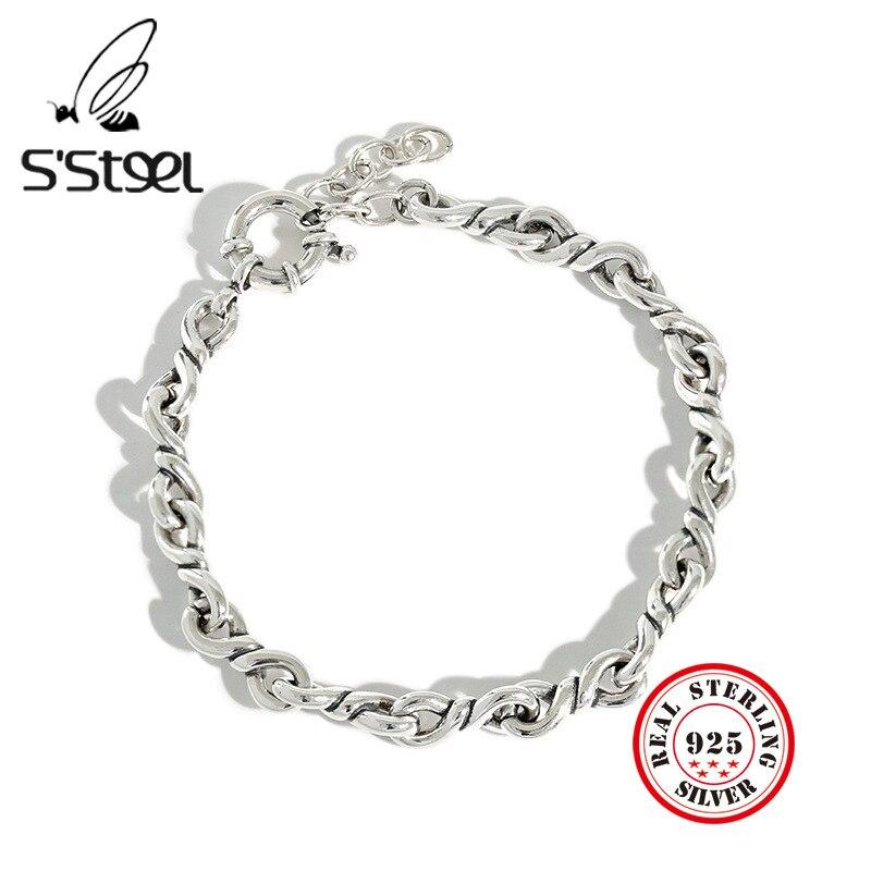 S'STEEL-Bijoux pour hommes, Bijoux en Argent Sterling 925, bijou Bracelets pour femme, Plata, Punk, vintage