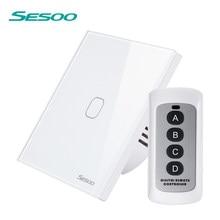 Sesoo sensor de toque de controle remoto interruptor de luz parede 1 2 3 gang 1 way led indicador cristal vidro temperado painel padrão da ue ac