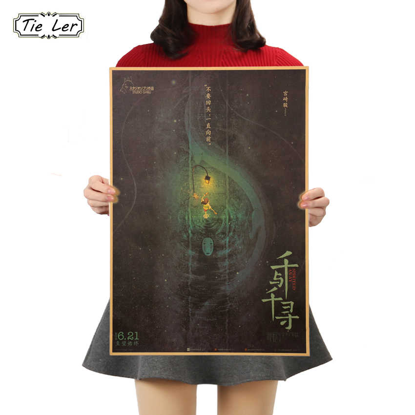 TIE LER Classic Spirited Away Does Not Look Back Kraft Paper Style Cartoon Movie Poster Wall Home Decor 50.5X35cm