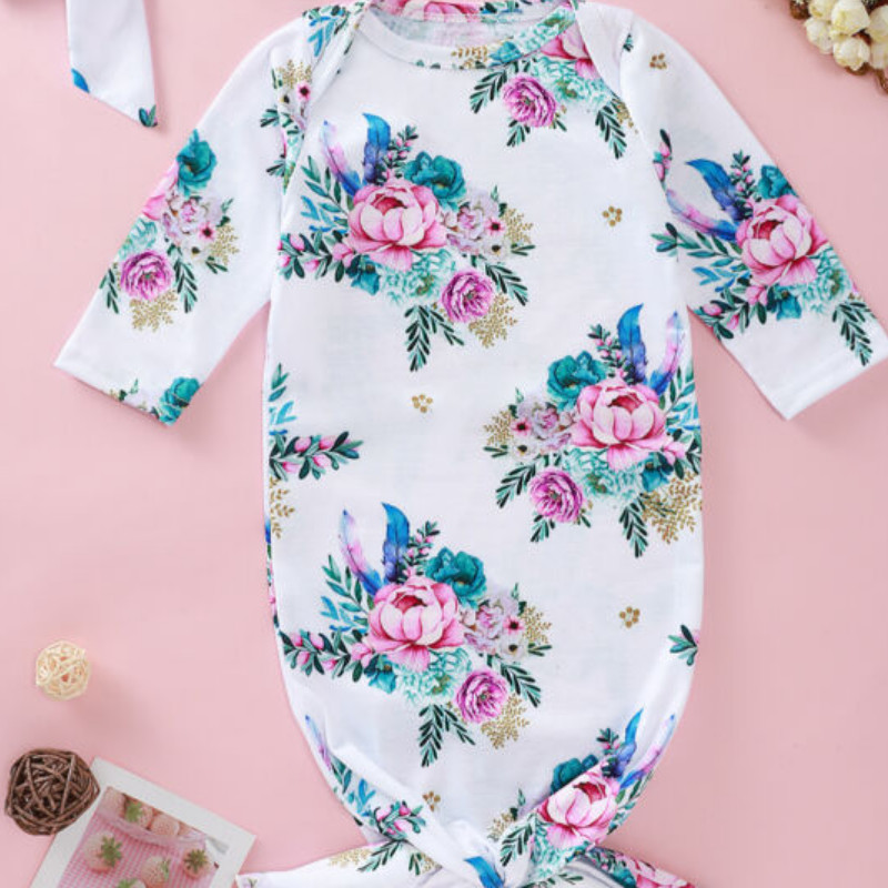 2PCS Infant Newborn Baby Girls Autumn Long Sleeve Flower Romper Clothes Outfit Sleepping Bag