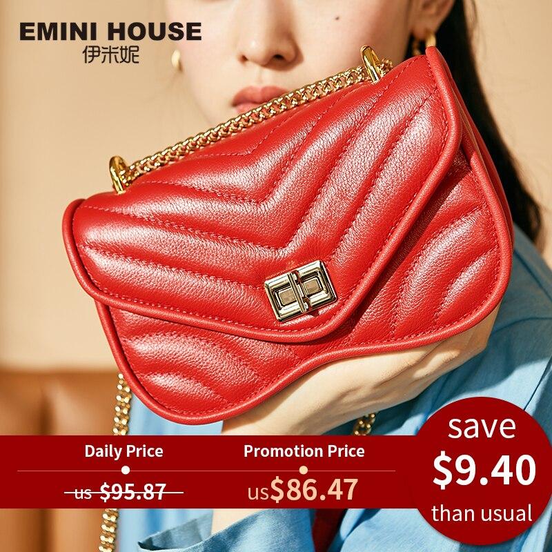 Chain-Bag Crossbody-Bags Emini-House Women Bags Designer Genuine-Leather Fashion