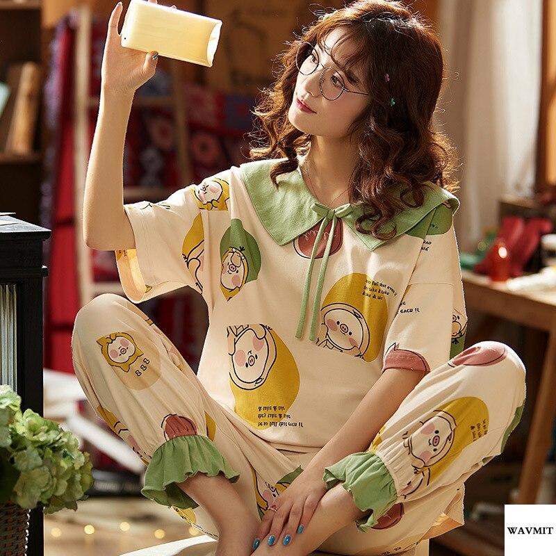 New Lazy Princess Style 2020 Spring Summer Cotton Women Pajamas Set Cute Short Sleeve Women Sleepwear And Long Pant Personality