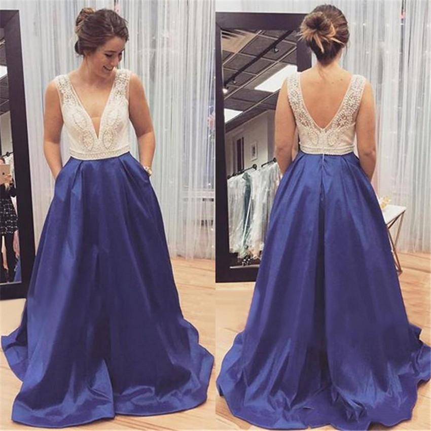H Hot Sale V-neck Elegant Long Evening Dresses Satin Zipper Back A-line Formal Evening Gowns Vestido De Noche