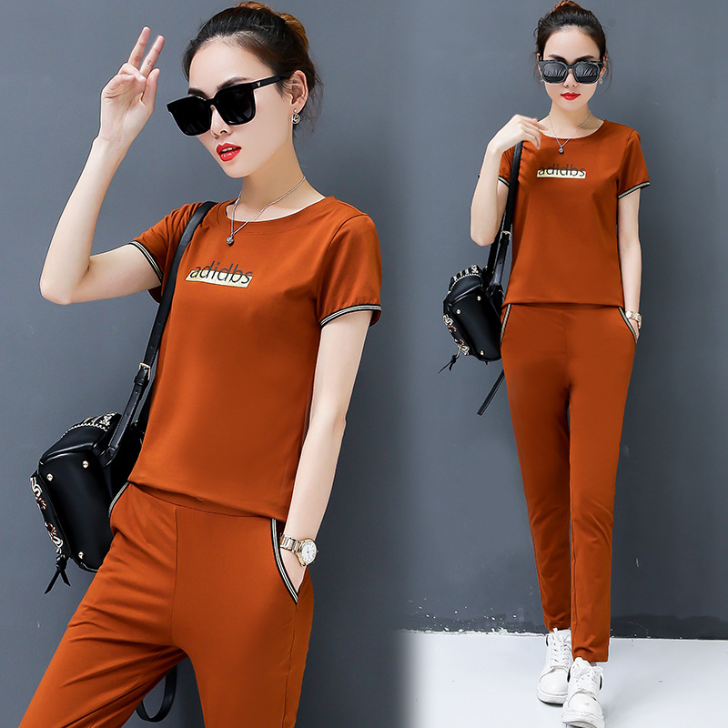 Sports WOMEN'S Suit Casual Fashion Summer Summer Sports Clothing Two-Piece Set Short