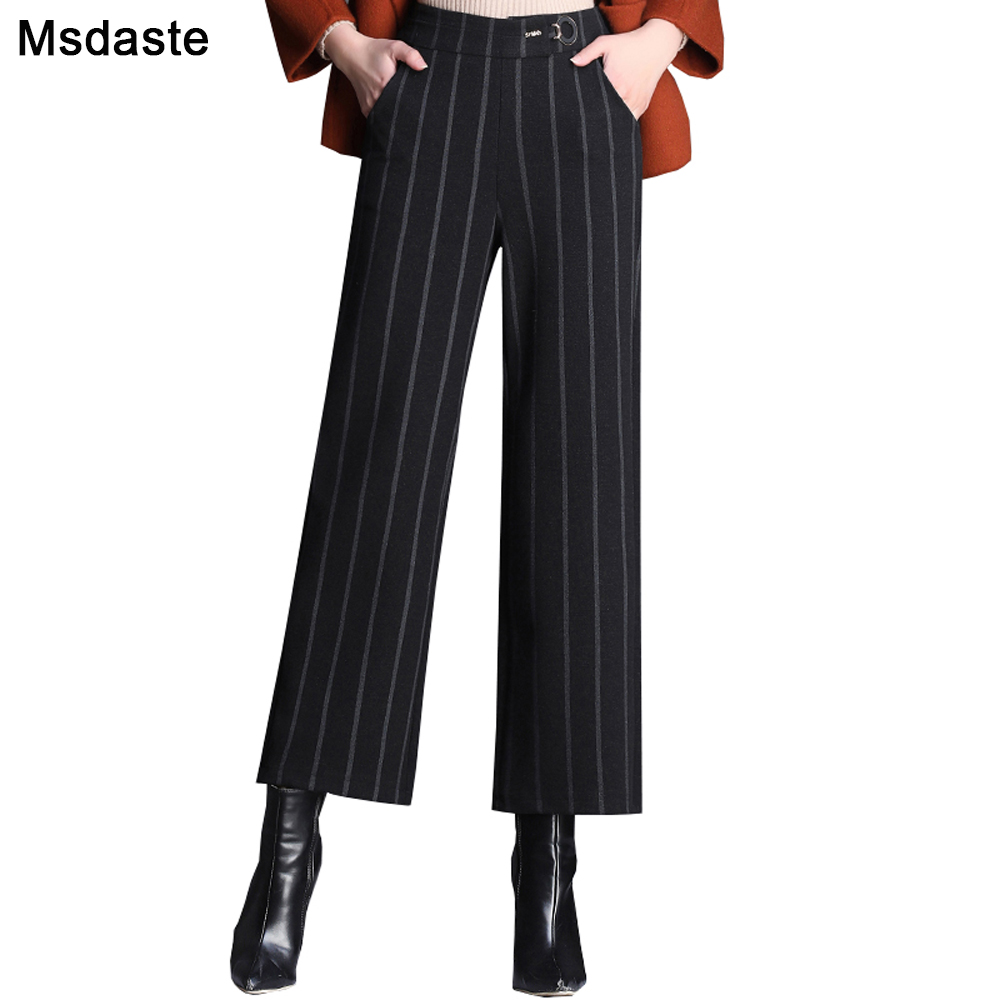 2019 Office Wear Women Woolen Pants Autumn Winter Wide Leg Trousers Plus Size Lady Pants Elastic High Waist Female Loose Pant
