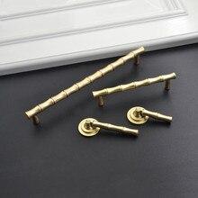 Lch qualidade superior estilo chinês sólido liga de zinco bambu escovado alça de ouro armário gaveta botão da porta puxar meia lua