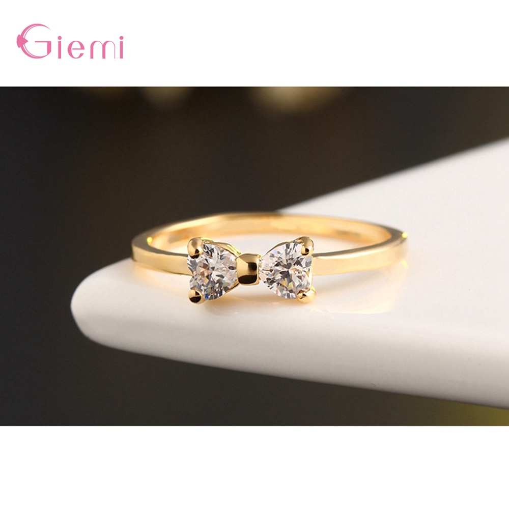 New Fashion Slim Finger Rings 925 Sterling Silver Bow Shape Cubic Zirconia Wedding/Engagement Party Rings Wholesale/Retail 3