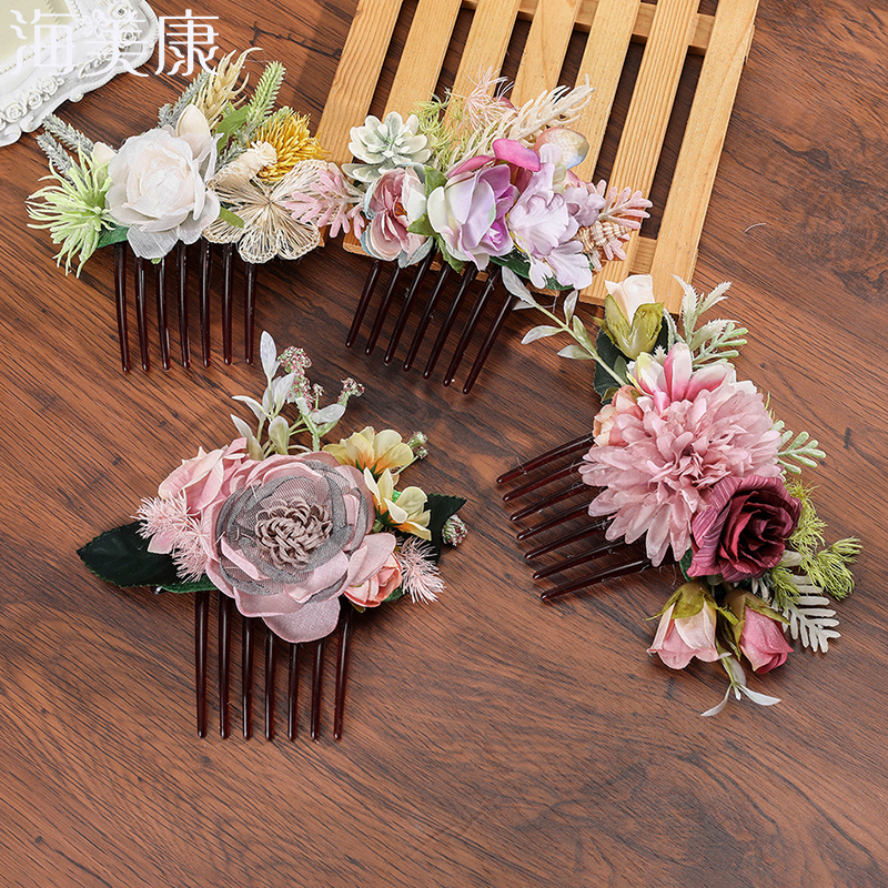 Haimeikang Women Rose Flower Retro Combs Brides Hair Pins Hair Comb Wedding Jewelry Accessories Red Rose Hairpin Hair Jewelry