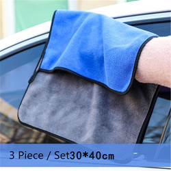 3X 30X40CM Thick Auto Care Detailing Polishing Microfiber Fiber Home Washing Super Absorbent Car Towel Cleaning Cloths Polyester