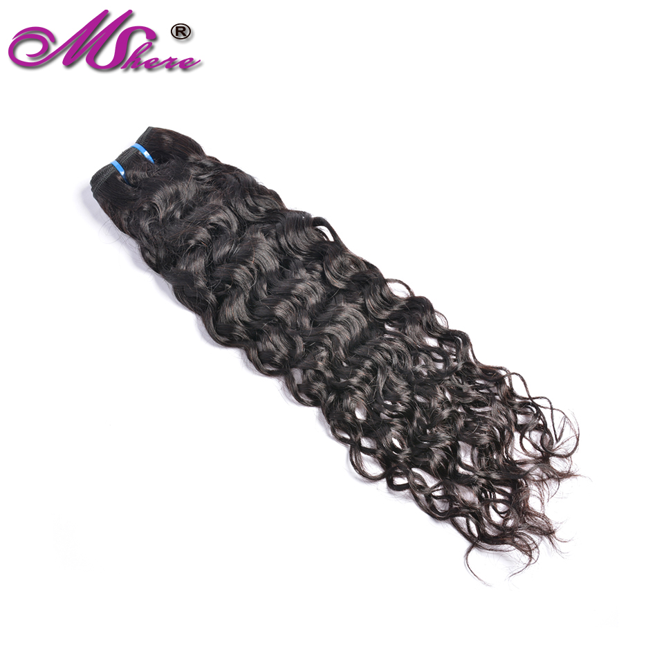 Mshere Indian Human Hair Water Wave Hair Weave Bundles Natural Color Non remy Hair Extensions Can Be Dyed 1Pc Hair Bundles-in Hair Weaves from Hair Extensions & Wigs