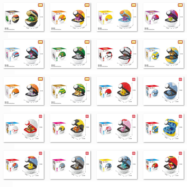 Mini Blocks Pocket Dive-Ball Diamond Monster Charmander Raichu Love Building-Toy Animal