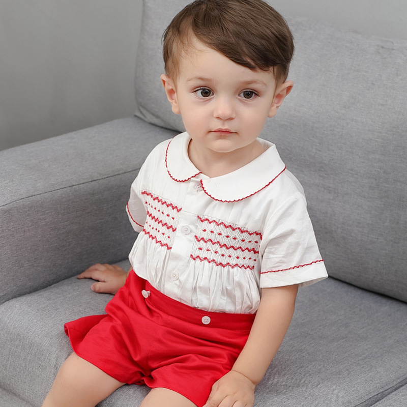 2019 Summer New Arrivals Boy Baptism Clothes Cotton Quality Prince Cotton Shirt+Shorts Two-piece High Quality Children's Wear