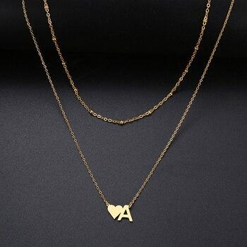 DOTIFI для женщин модное Двухслойное ожерелье в форме сердца 26 БУКВЕННОЕ имя из нержавеющей стали золотые серебряные ювелирные изделия GiftT149