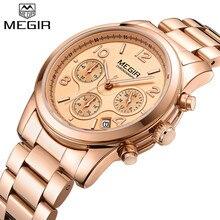 MEGIR 女性の恋人腕時計トップブランドの高級ゴールド女性クロノグラフ日付時計古典的なビジネスクォーツ腕時計ギフトボックス 2057