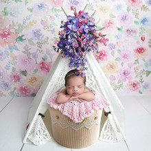 Liantu Newborn Props for Photography Wood Vintage Lace Tent Baby Girl Photo Shoot Accessories Newborn Photography Background