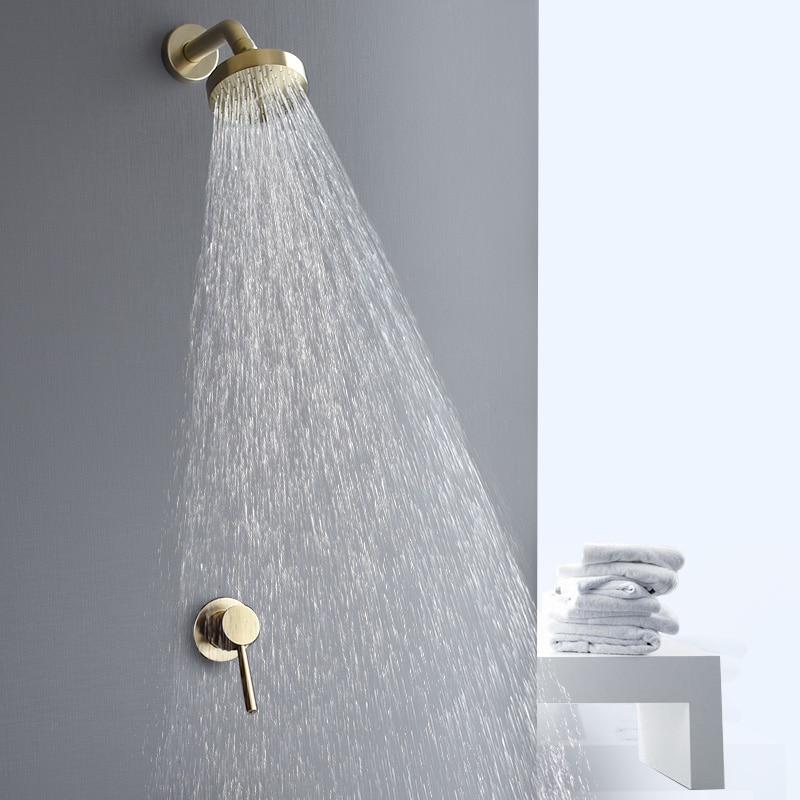 Настенное крепление, Золотой смеситель для душа, набор, дождевой Золотой смеситель горячей и холодной воды, кран для ванной комнаты, матовый...