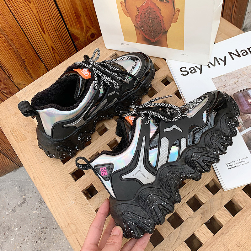 Spring Woman Chunky Platform Sneakers 2020 New Ulzzang Fashion Lace Up Trainers High Quality Tenis Female Old Dad Casual Shoes 1