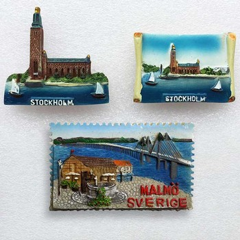 Swedish Fridge Magnets Tourist Souvenir  Malmo Sverige Stockholm Travel Gift Magnetic Refrigerator Stickers Home Decoration недорого