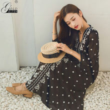 Gold Hands 2019 Ethnic Woman Cotton Linen Beach Holiday Dresses Bohemian V Neck Embroidery Flower Drawstring Lace Up Waist Dress(China)
