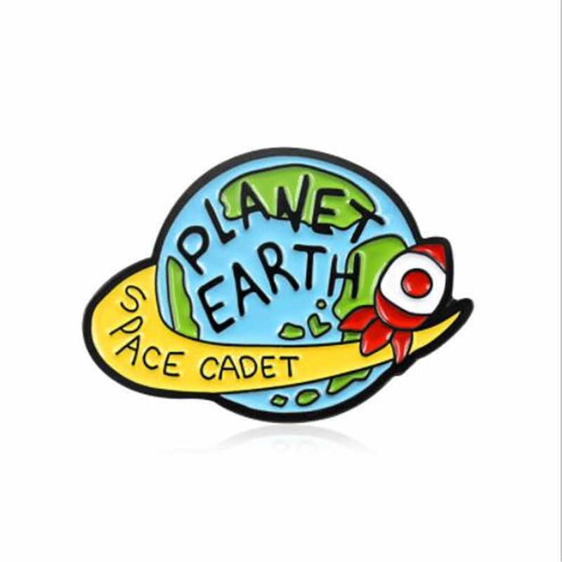 WKOUD Planeet Aarde Broche Starry Rocket Emaille Pin Ruimte Militaire Uniform Rugzak Badge Ruimte Explorer Pilot Technicus Gift