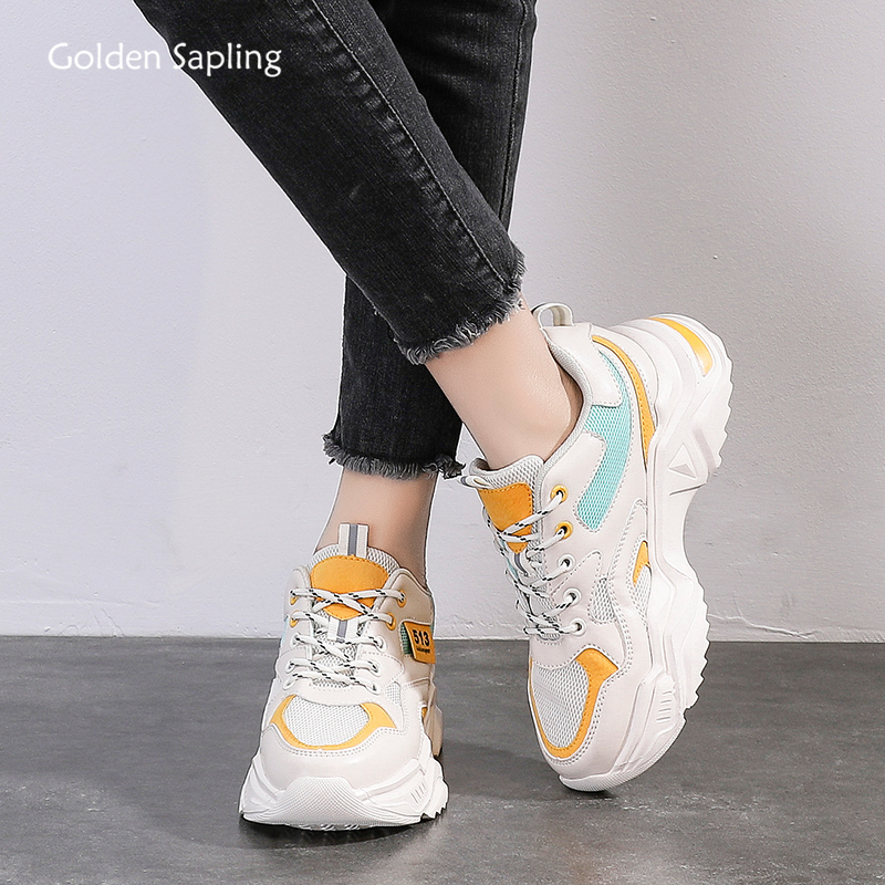 Golden Sapling Retro Women's Sneakers Breathable Air Mesh Sport Shoes Height Increasing Platform Sneaker New Women Running Shoes