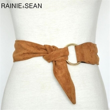 RAINIE SEAN Double Ring Buckle Belt Soft Suede Belts Women Brown Black Ladies Wide Self Tie Autumn Female Dress Waistband