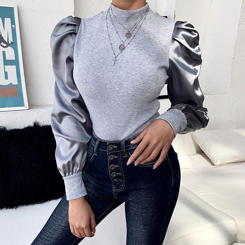 Long Puff Sleeve Ribbed Knit Shirts Autumn O Neck Casual Top Women Gray Black Blusas Elegant Slim Stretchy Tops Streetwear G1142