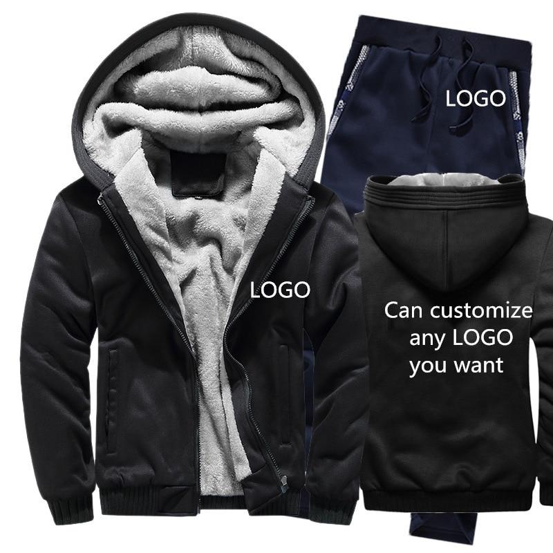 Winter Hoodies Men Can Customize LOGO Mens Hoodies Suit Thicken Warm Fleece Cotton Zipper Tracksuit Mens Jacket+Pants 2Pcs Sets