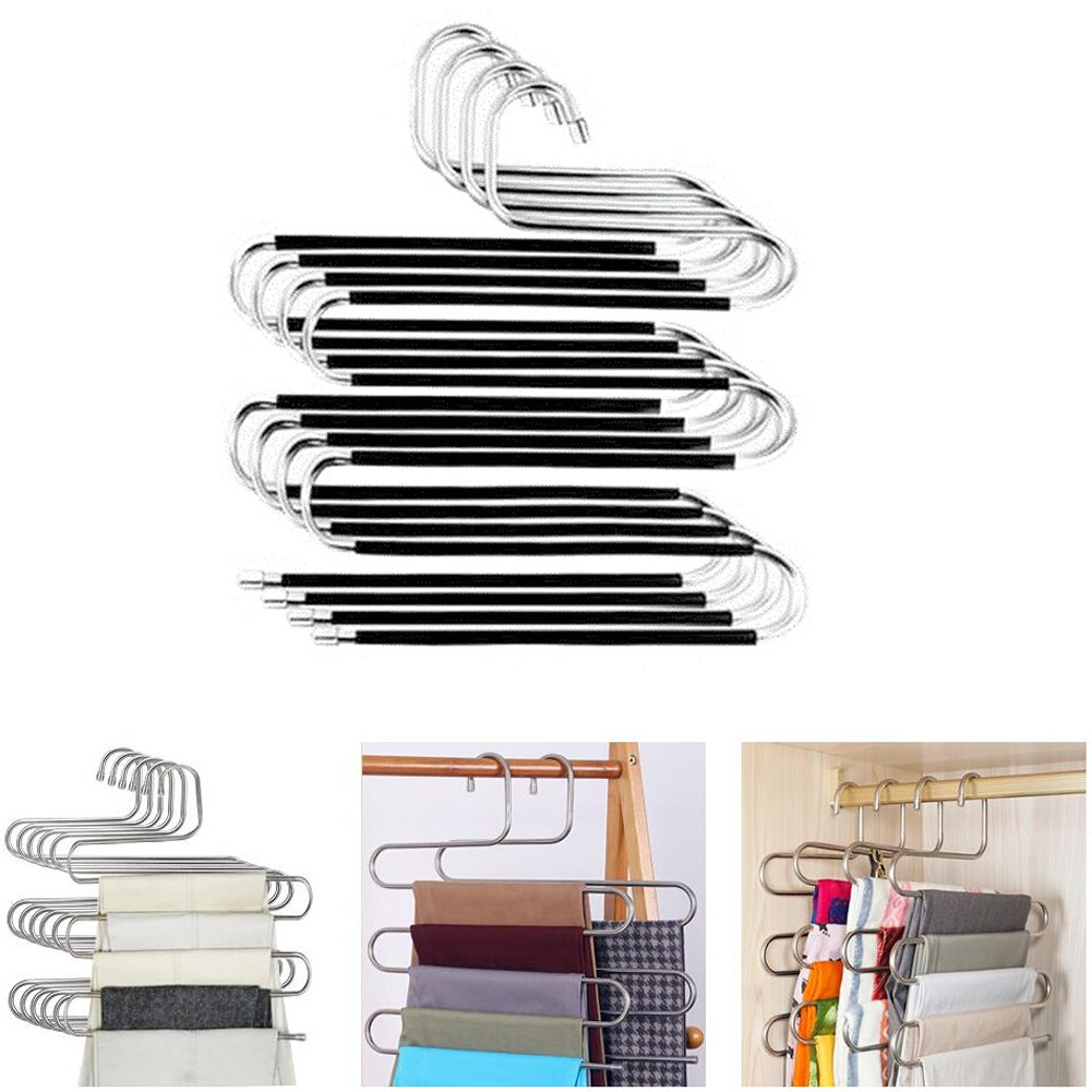 S-style Clothes Pants Hanger Multi-layer Stainless Steel Rack Space Saver For Scarf Hangers