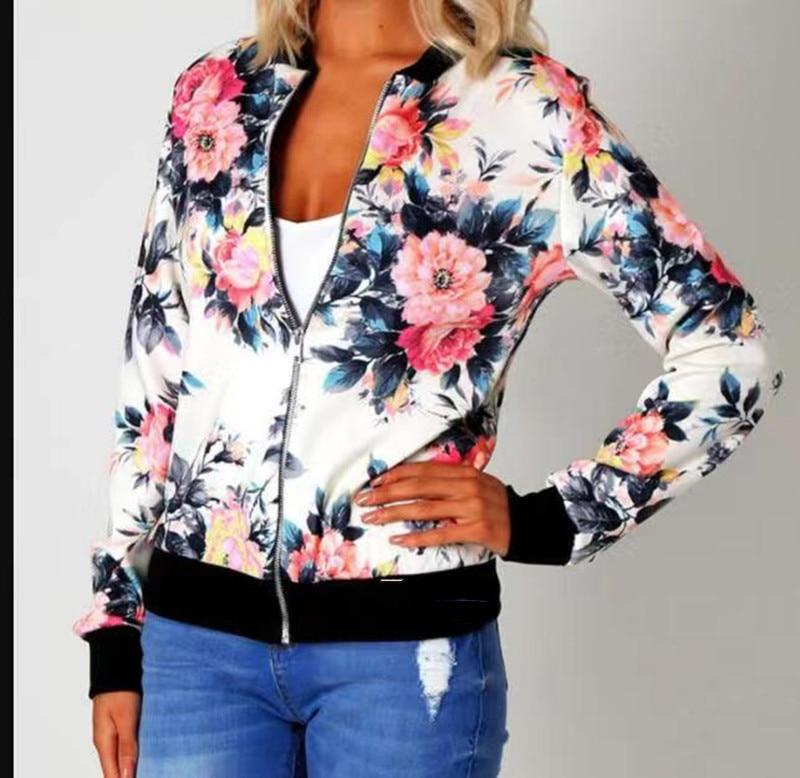 H7c07c0a8db3846358f335ccf39c7bae9G Woman Coat Plus Size Printed Bomber Jacket 2020 Women Pockets Zipper Long Sleeve Coat Female Flower Chiffon White Jacket Woman