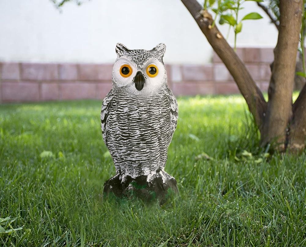 AA Outdoor Simulated Owl% 2C Weatherproof Dummy Owl с Long Ears Garden Bird Scarecrow
