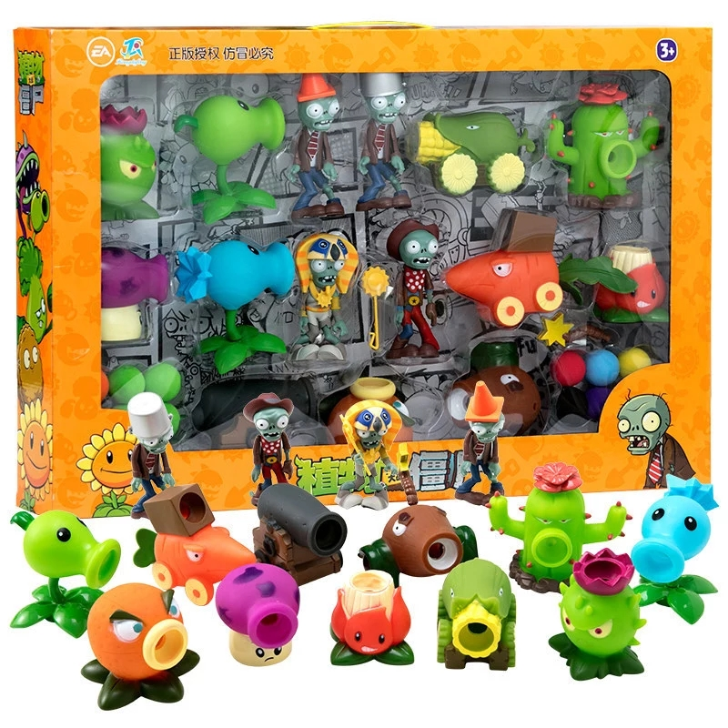 Большая Натуральная Растения против игрушки-зомби 2 полный набор для маленьких мальчиков мягкий силиконовый чехол с рисунком из аниме Рису...