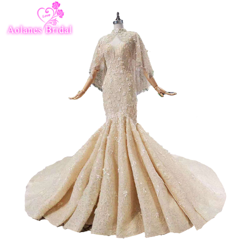 New Arrival Gold Crystyle Beaded Lace Mermaid Wedding Dress With Cape 2019 Plus Size Custom Made Long Sleeve Wedding Bridal Gown