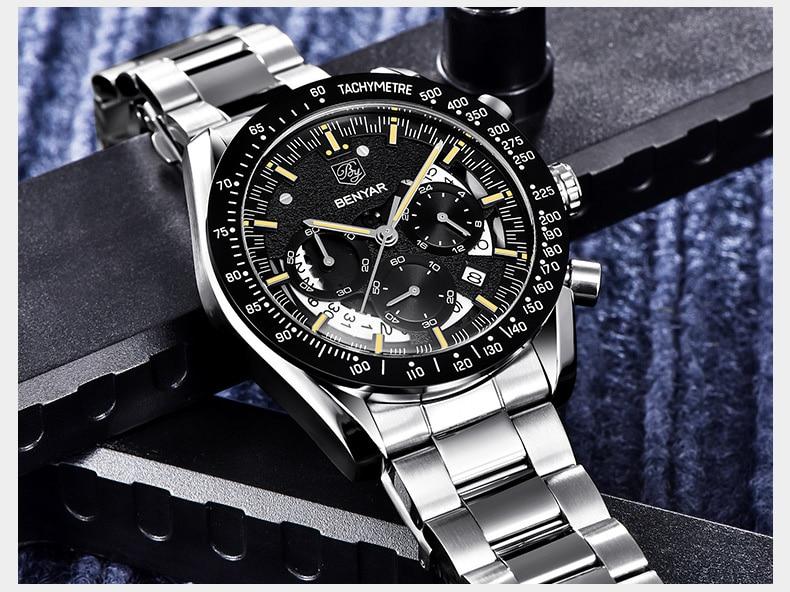 Moda de luxo relógio masculino multi-função à