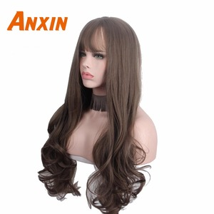 Image 2 - Anxin Long Curly Synthetic Wigs with Bangs Brown Womans Hair Heat Resistant High Temperature Kinky Cosplay Wig for Women