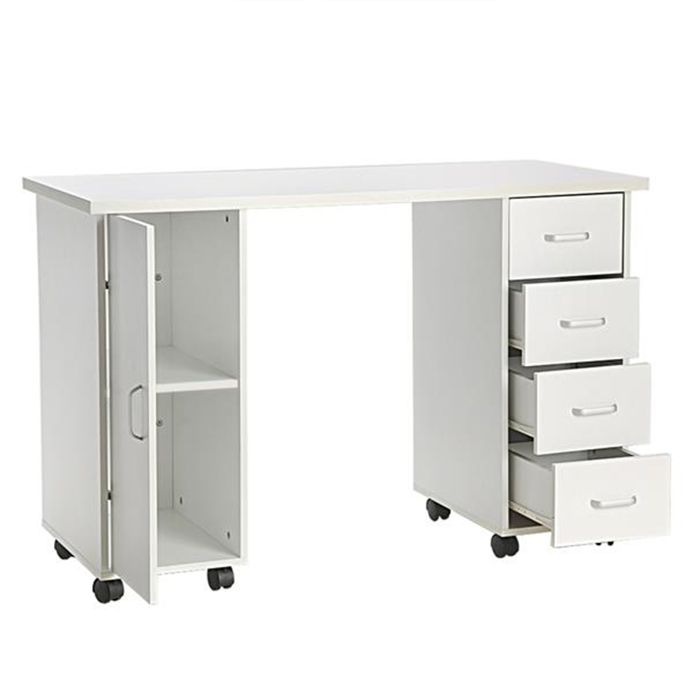 В наличии США склад МДФ Материал двойной окантовкой столик для маникюра с ящиком белый